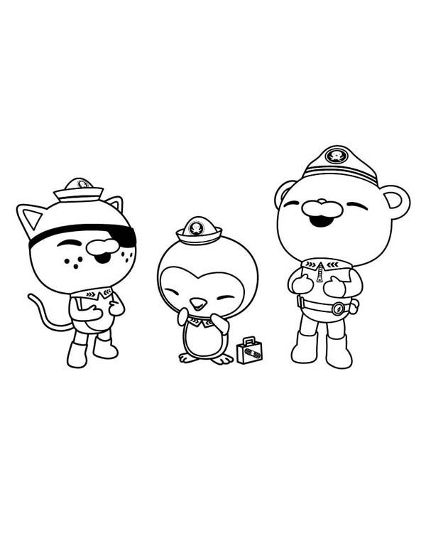 The octonauts kwazii and peso and captain barnacles laughing together in the octonauts coloring page