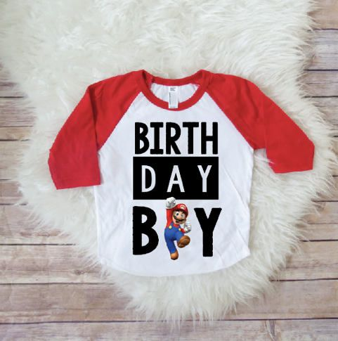 Birthday Boy Shirts Super Mario Brothers PLEASE DO NOT WASH FOR 14 DAYS AS INK IS FRESHSuper
