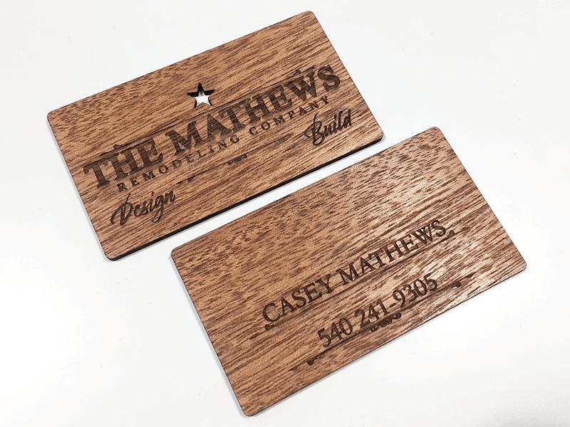 Laser Engraved Business Cards On Wood Metal Plastic Starting At 1 30 Wood Business Cards Metal Business Cards Laser Engraved Business Cards