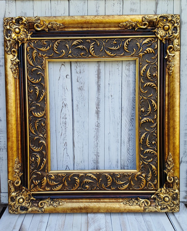 Baroque style frame antique gold canvas frame photo