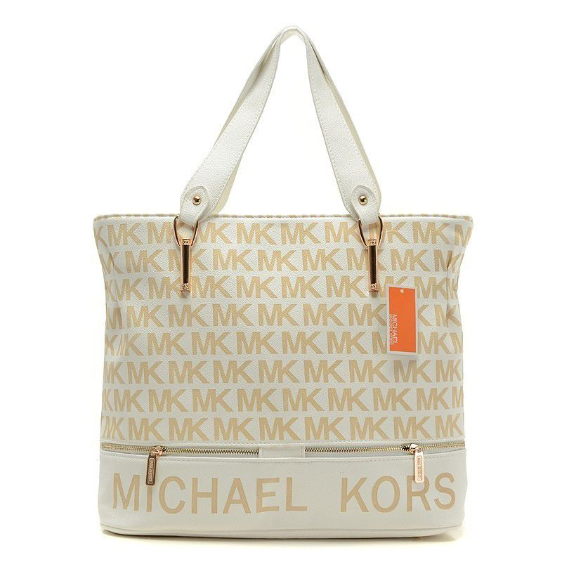 Michael Kors Logo Signature Large Khaki Totes Outlet