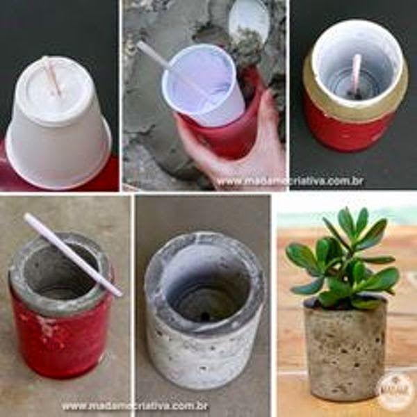 como fazer vasos de concreto com caixas de papel o latas. Black Bedroom Furniture Sets. Home Design Ideas