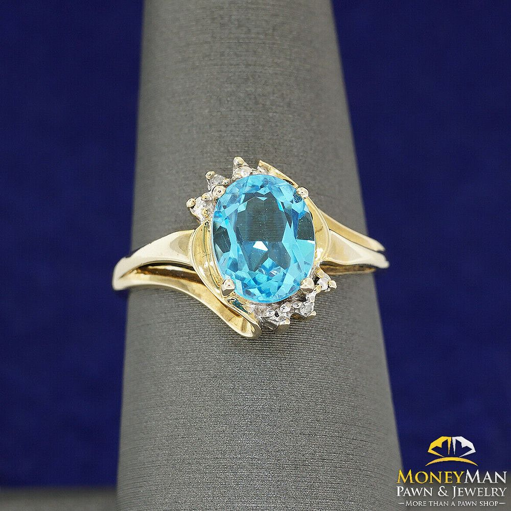 10k Solid Yellow Gold Genuine Oval Blue Topaz Diamond Accent Curved Ring Size 7 Ebay In 2020 Blue Topaz Diamond Blue Topaz Ring Gemstone Jewelry