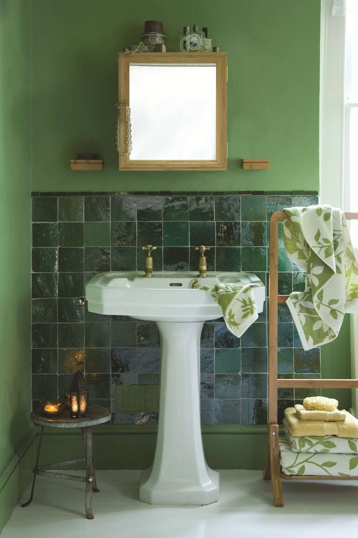 Emerald green tile why not add colour to a bathroom with for Emerald green bathroom accessories