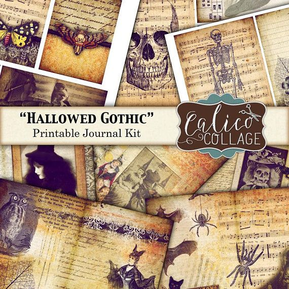 Printable, Journal Kit, Hallowed Gothic, Junk Journal Kit