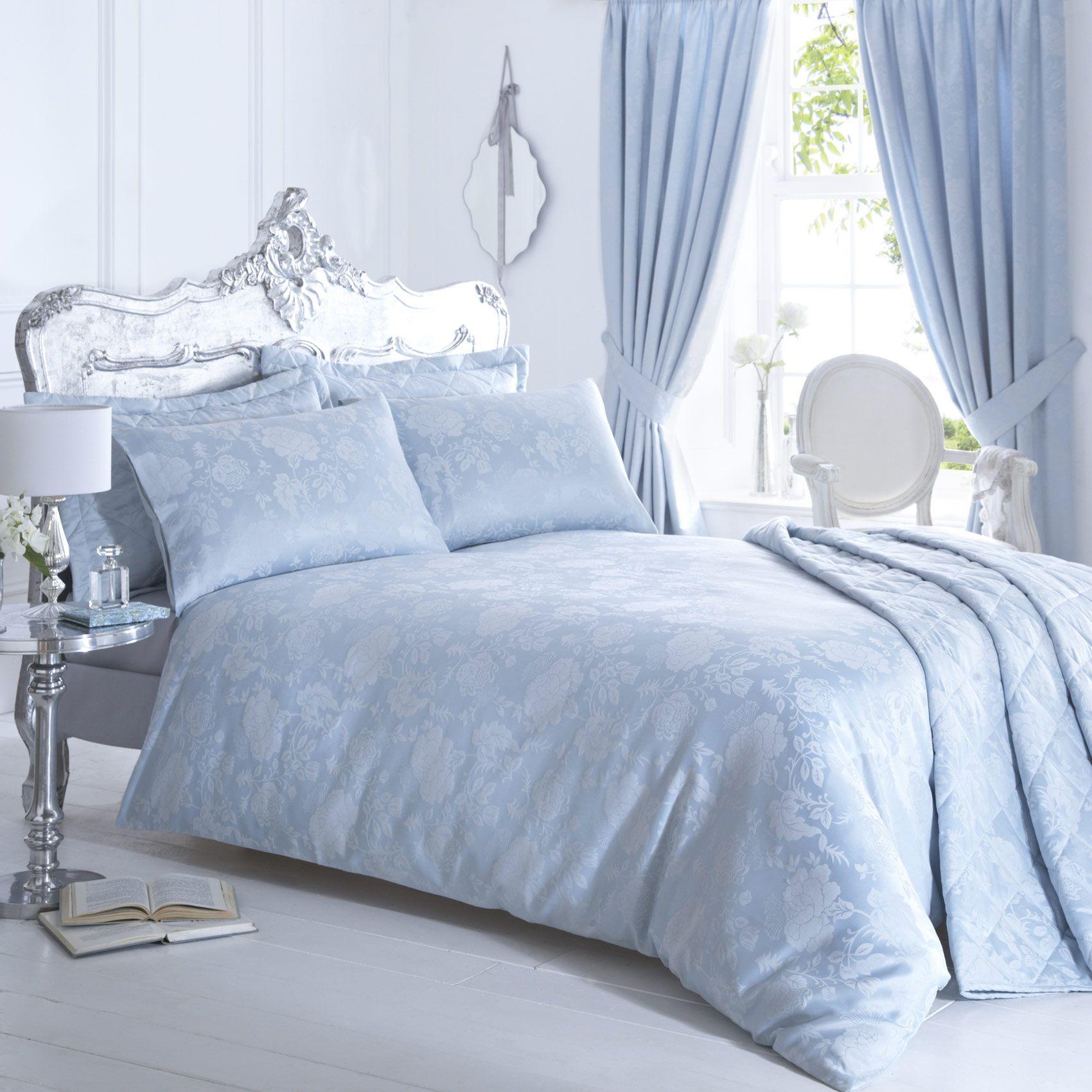 Vantona Rose Damask Jacquard Duvet Cover Sets - Duck Egg / Blue ... : duck egg blue quilt cover sets - Adamdwight.com