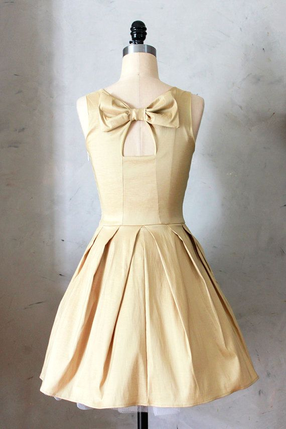 JUBILEE GOLD - Shimmery taffeta party dress with white tulle // back ...