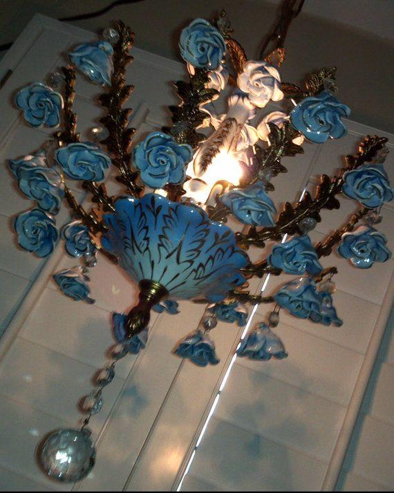 Antique Capodimonte Chandelier 3 Light Brass Gorgeous Blue On Porcelain