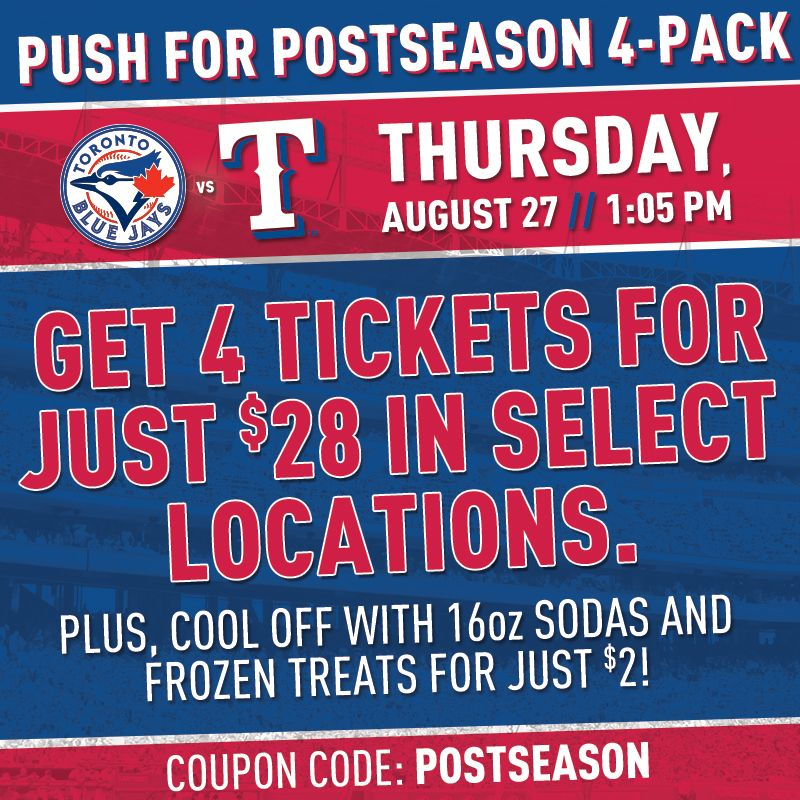Get to Globe Life Park this Thursday, August 27, to watch