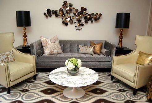 Suzie: Daniel M Pafford - Yellow & gray living room design with gray ...