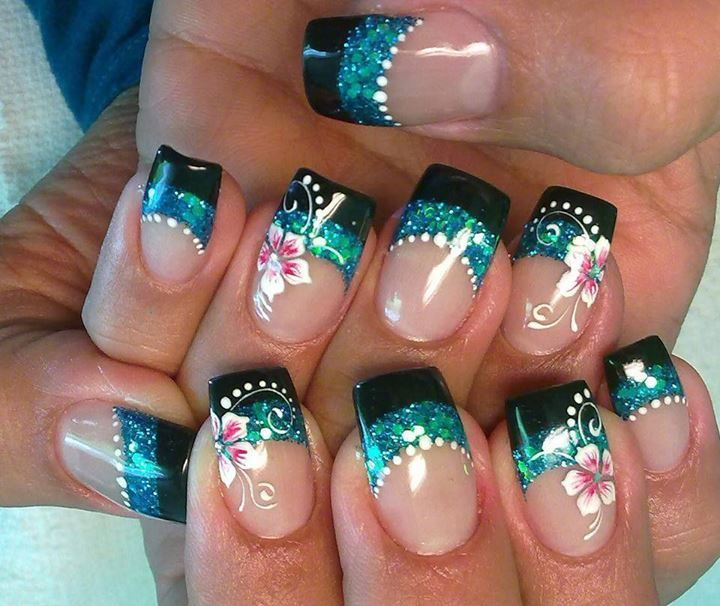 Black and glitter with flower