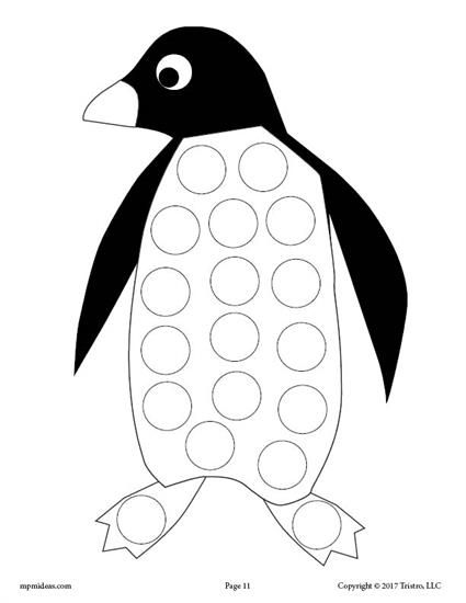 10 FREE Winter Do-A-Dot Printables! Penguins, Motor skills and - penguin template