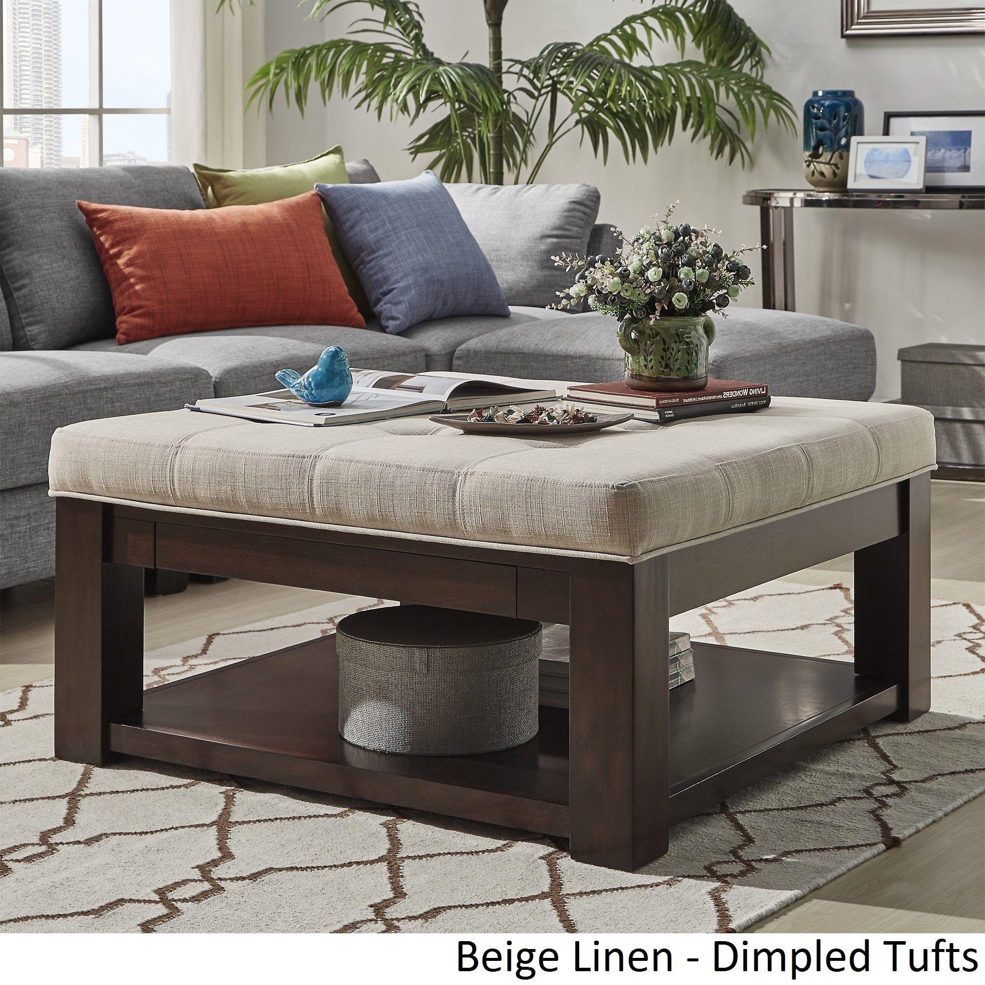lennon espresso square storage ottoman coffee table by tribecca home
