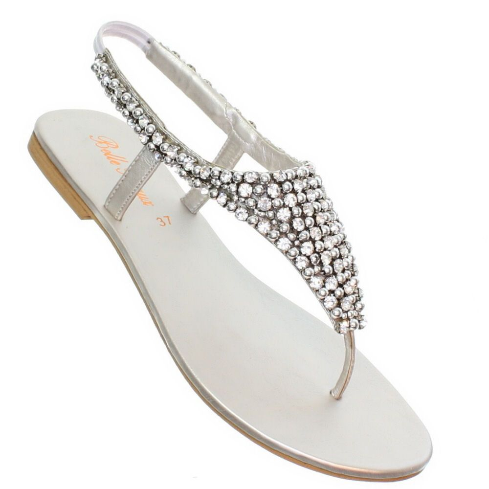 details about womens flat diamante sparkly toe post silver