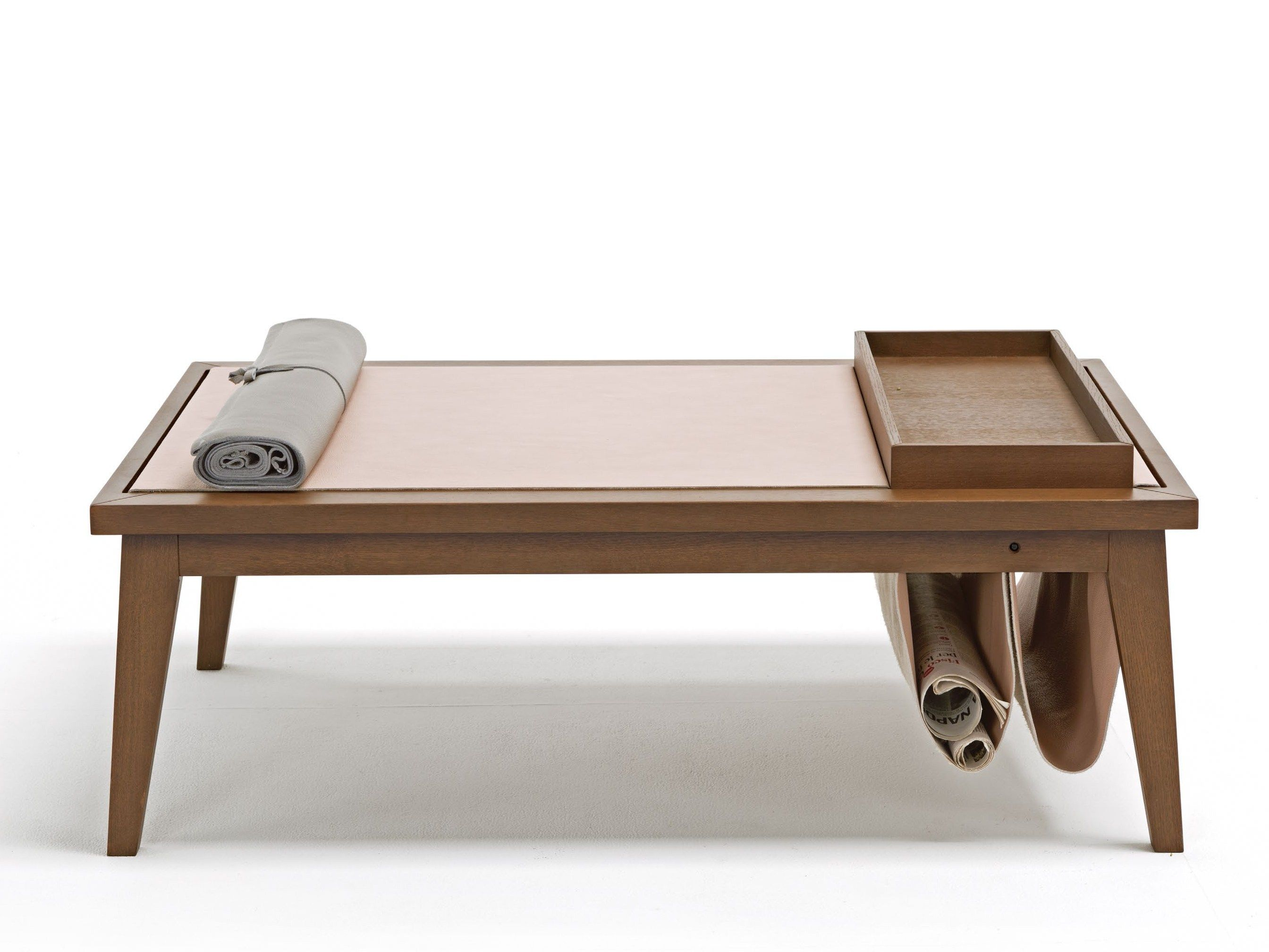 Low Rectangular Oak Coffee Table With Tray Bergen By