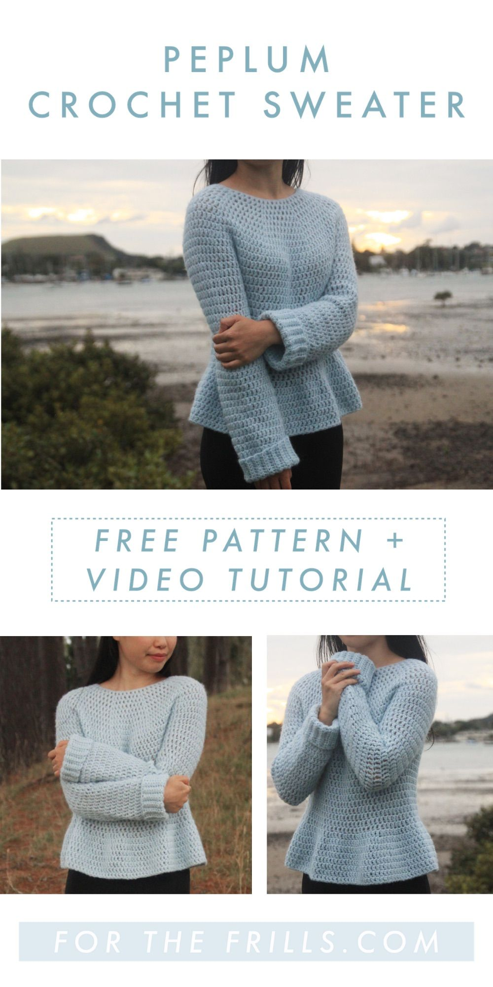 Peplum Crochet Sweater - Free Crochet Pattern + Video tutorial! - for the frills #crochetedsweaters