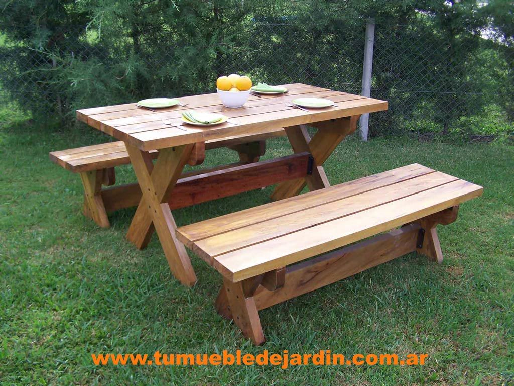 Best 25 mesa picnic madera ideas on pinterest mesas de for Muebles de jardin de madera