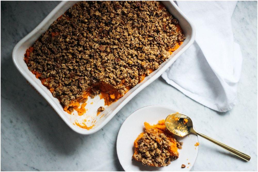 Sweet Potato Casserole w/ an Oat +  Nut Crumble