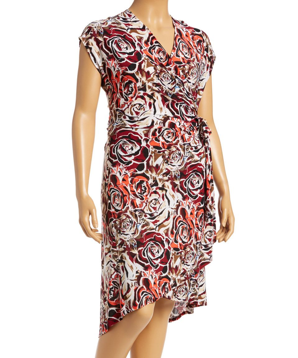 Look what I found on #zulily! Burgundy & Black Floral Wrap Dress by GLAM #zulilyfinds