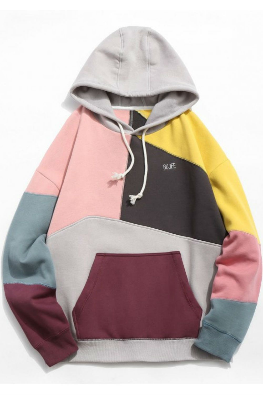 HOT] 2019 Colorblock Sewing Patchwork Fleece Hoodie In KHAKI