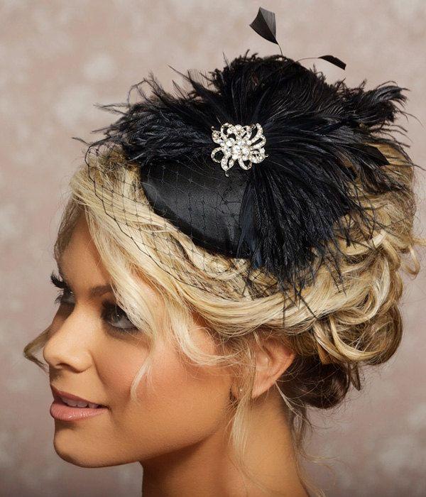 Black Birdcage Veil Fascinator Cocktail Hat Black Headpiece Bridal Veil Black Wedding Hair