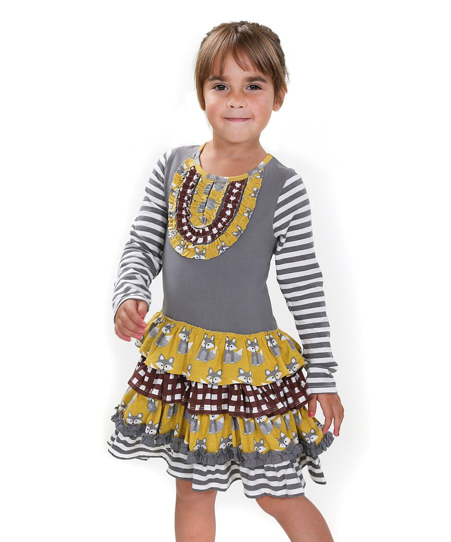 b2ecf858e3a Look at this Jelly the Pug Gray   Yellow Fox Hill Chloe Tiered Dress -  Toddler   Girls on  zulily today!