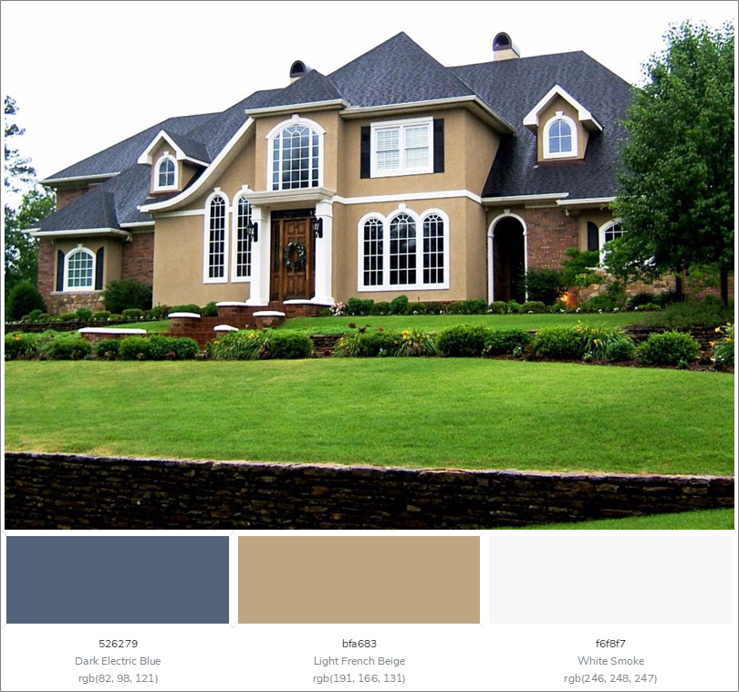 This Wonderful House Exterior Has 3 Colors Combination With Dark Electric Blue Light French B Exterior Color Combinations House Exterior Exterior House Colors