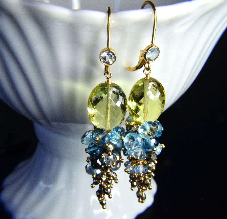 Lemon Quartz, London Blue Topaz, Sky Blue Topaz and Pyrite Leverback Earrings.. $165.00, via Etsy.