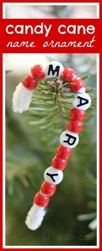 Beaded Candy Cane Name Ornaments Preschoolers Can Make | Fun-A-Day!