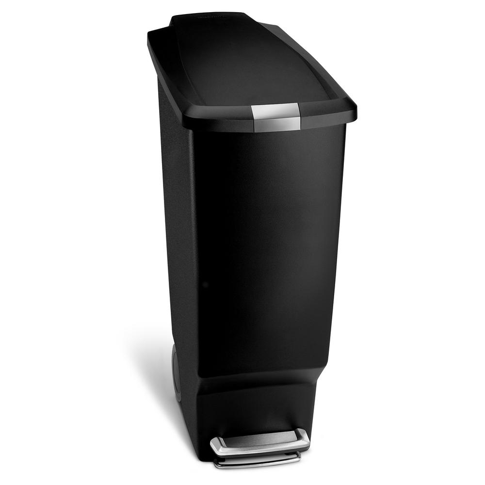 Simplehuman 40 Liter Black Plastic Slim Step On Trash Can Cw1361 Kitchen Trash Cans Plastic Bins Cool Kitchens