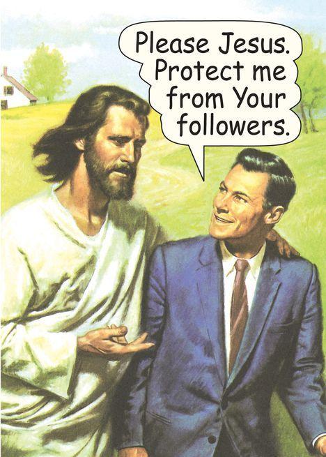 Jesus Protect From Followers Funny Birthday Card   Jesus Protect From Followers Funny Birthday Card Abstract Design Ideas Jesus schützt vor der lustigen Geburtstagsk...