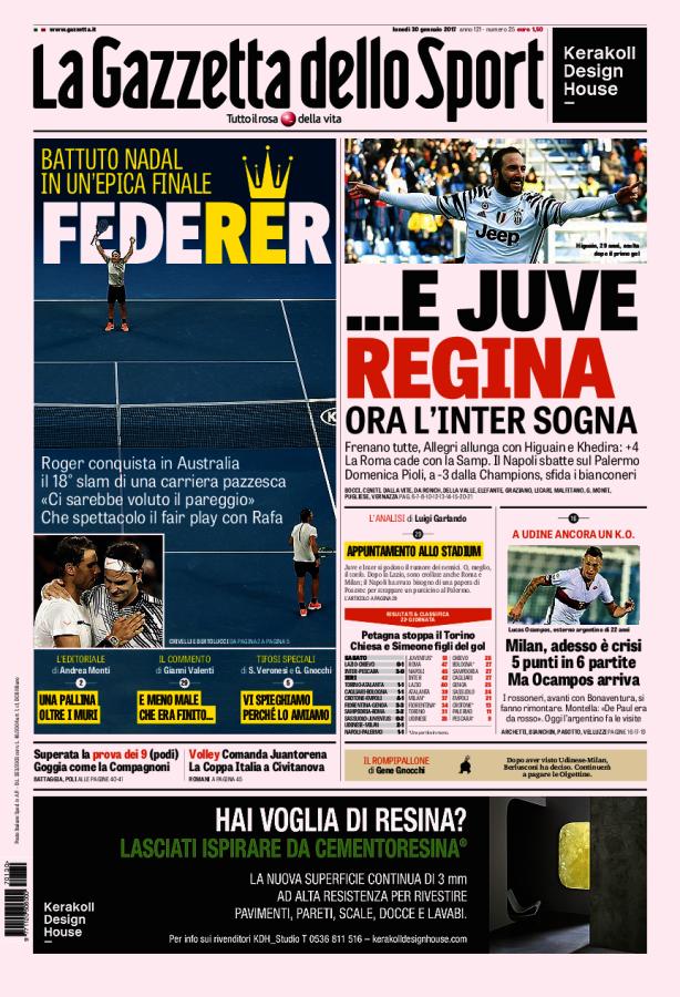 La Gazzetta dello Sport // 30/01/2017