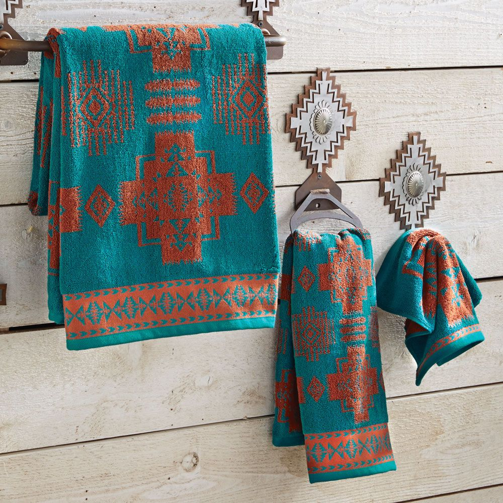 Chief joseph turquoise and copper bath towels apartment for Southwestern towel bars