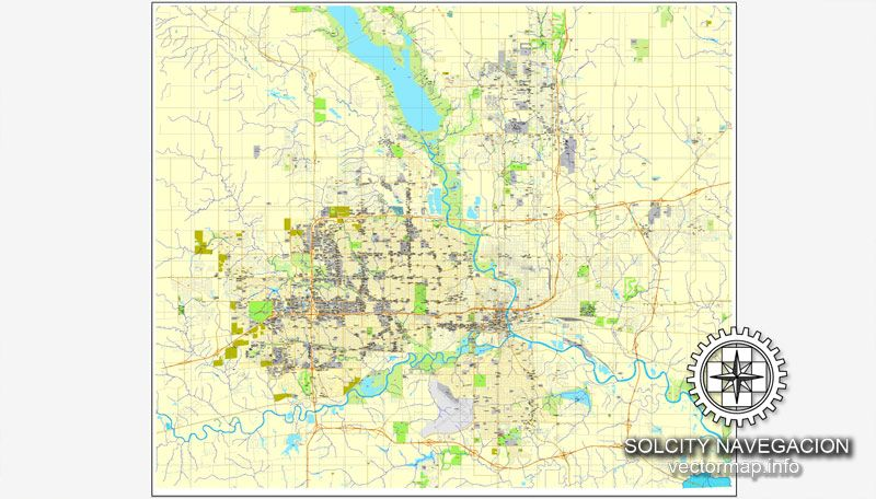 Des Moines, Iowa, US printable vector street City Plan map ...