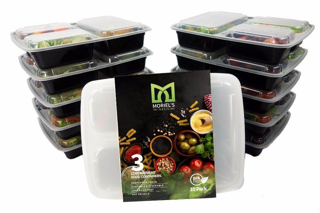 3 Sections Microwavable Reusable Freezer Safe Meal Prep