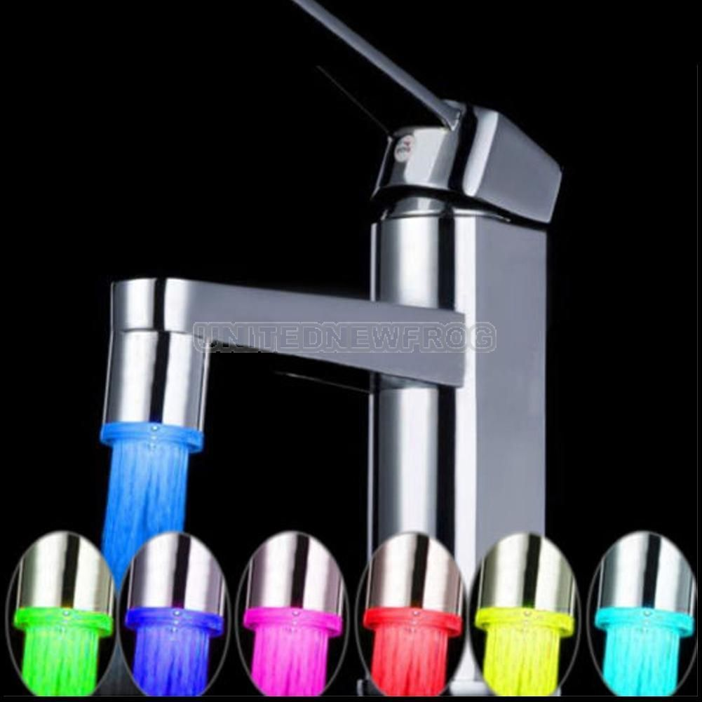 LED Light Water Faucet Tap 7 Color Changing Glow Shower Stream ...