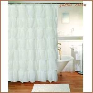 Gypsy White Shabby Chic Sheer Ruffled Shower Curtain Cottage Country Style  Decor
