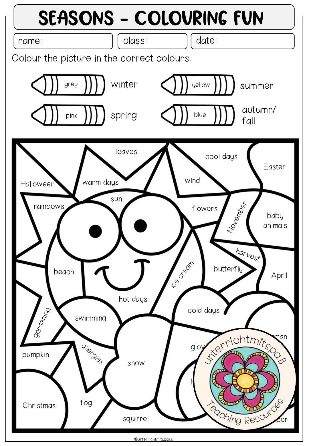 Seasons Colouring Fun Unterrichtsmaterial Im Fach Englisch In 2021 Englisch Lernen Kinder Englisch Fur Kinder Unterrichtsmaterial