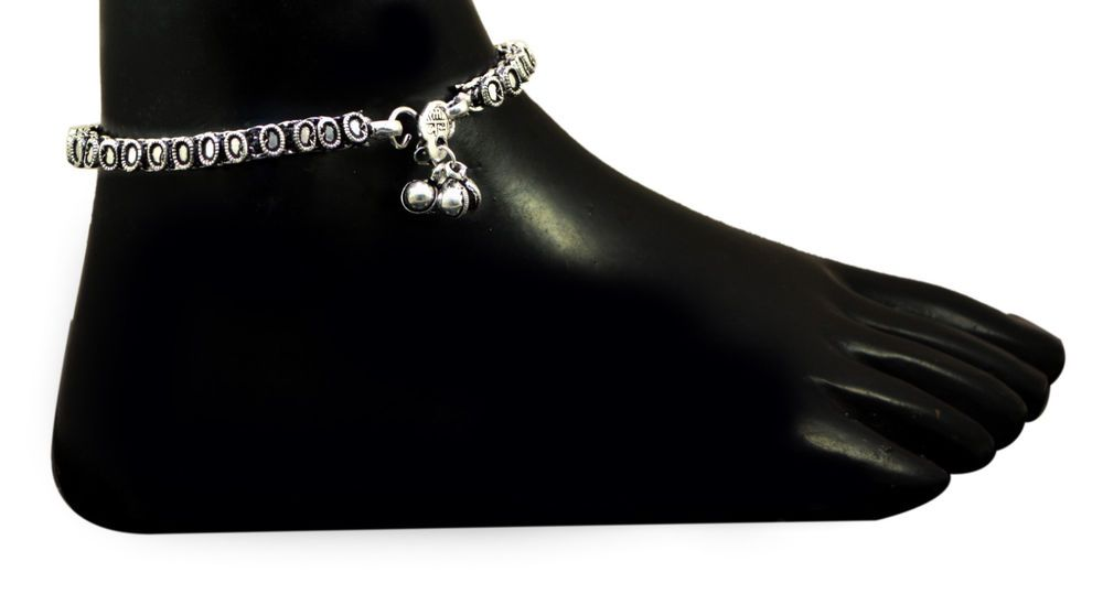 A Pair Of Handmade Anklets 925 Sterling Silver Plated Design Payal Jewelry KPA13 #Handmade