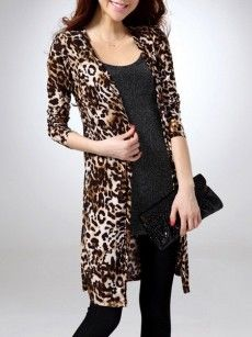 Leopard Printed Concise Collarless Cardigan