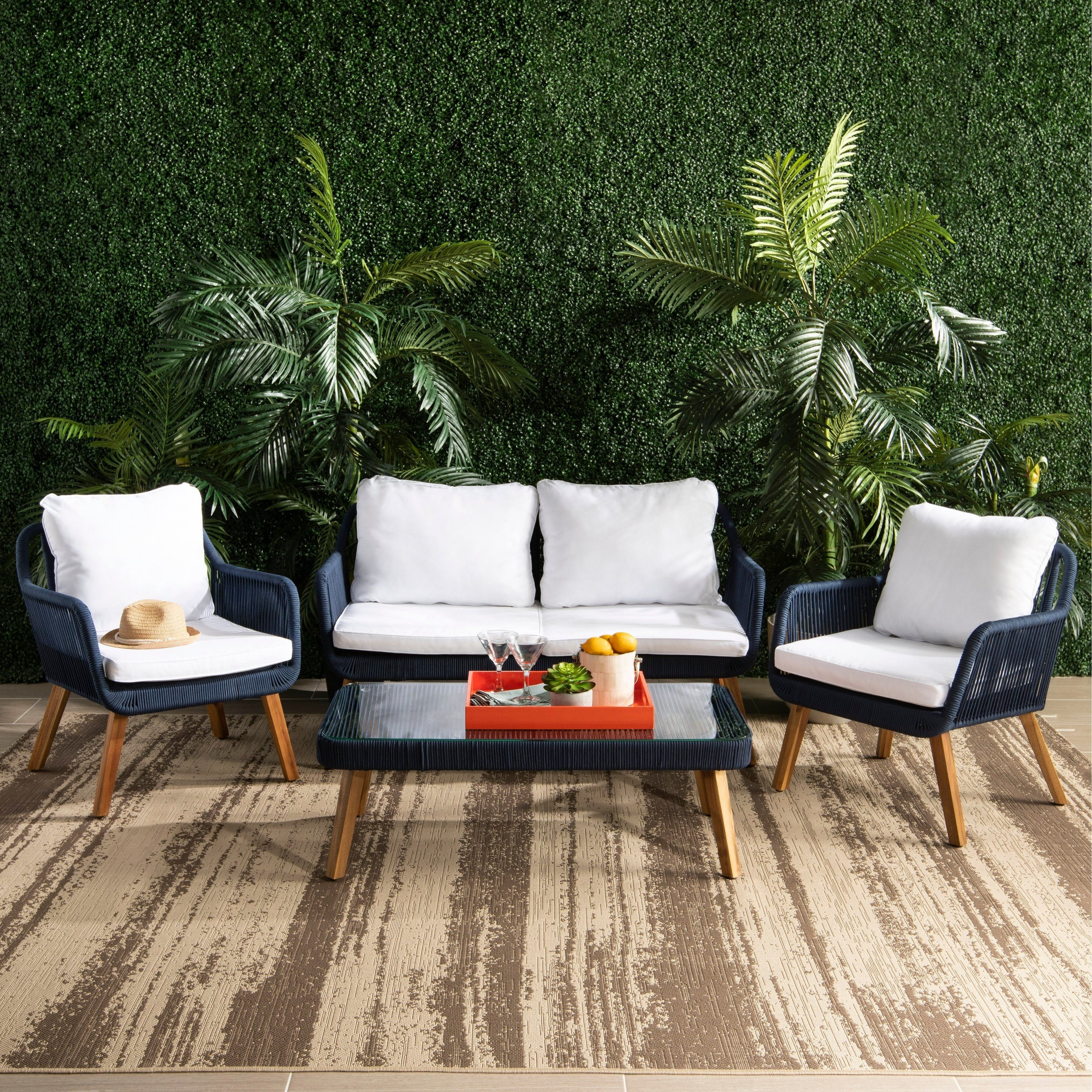 Fantastic Safavieh Outdoor Living Aldric 4Pc Outdoor Set Natural Pdpeps Interior Chair Design Pdpepsorg