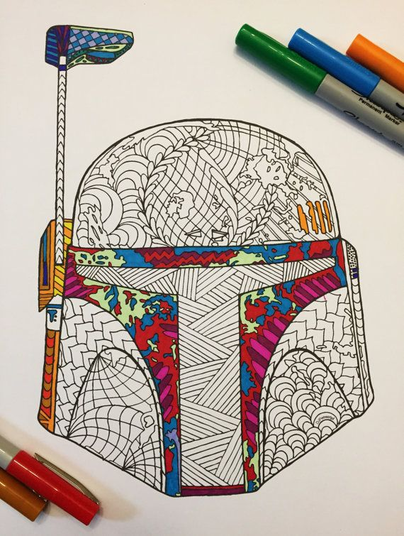 Boba Fett's Helmet PDF Zentangle Coloring Page Boba