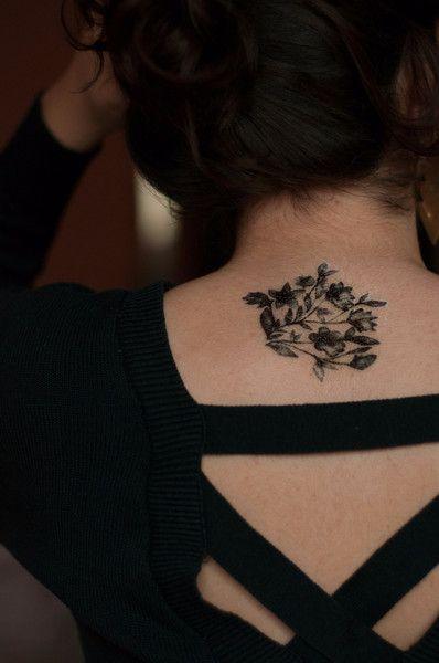 Black Vintage Bohemian Flower Tattoo Set