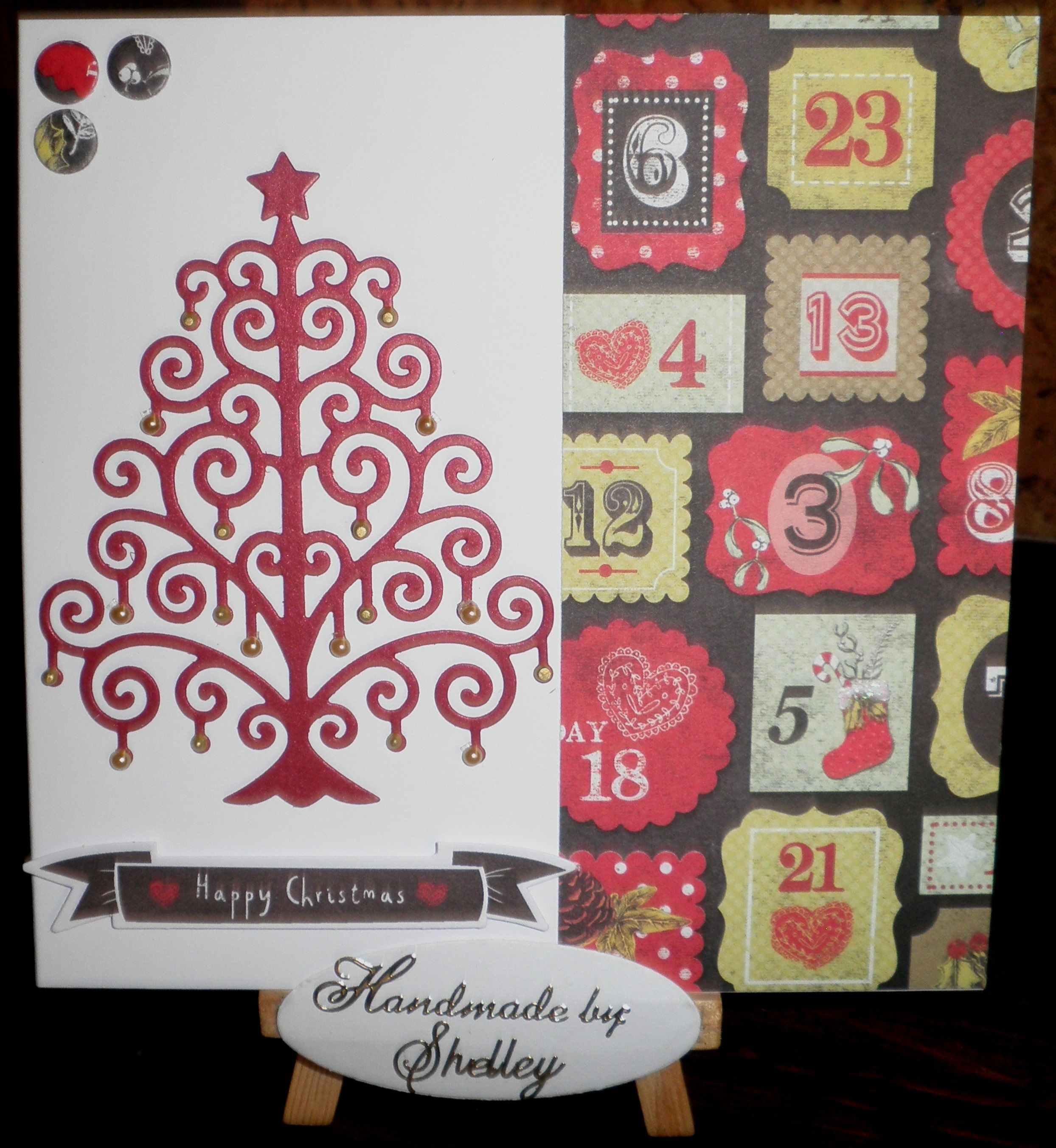 Craftwork Cards Festive Chalkboard collection. Swirly Christmas Tree die by Die-Namites.