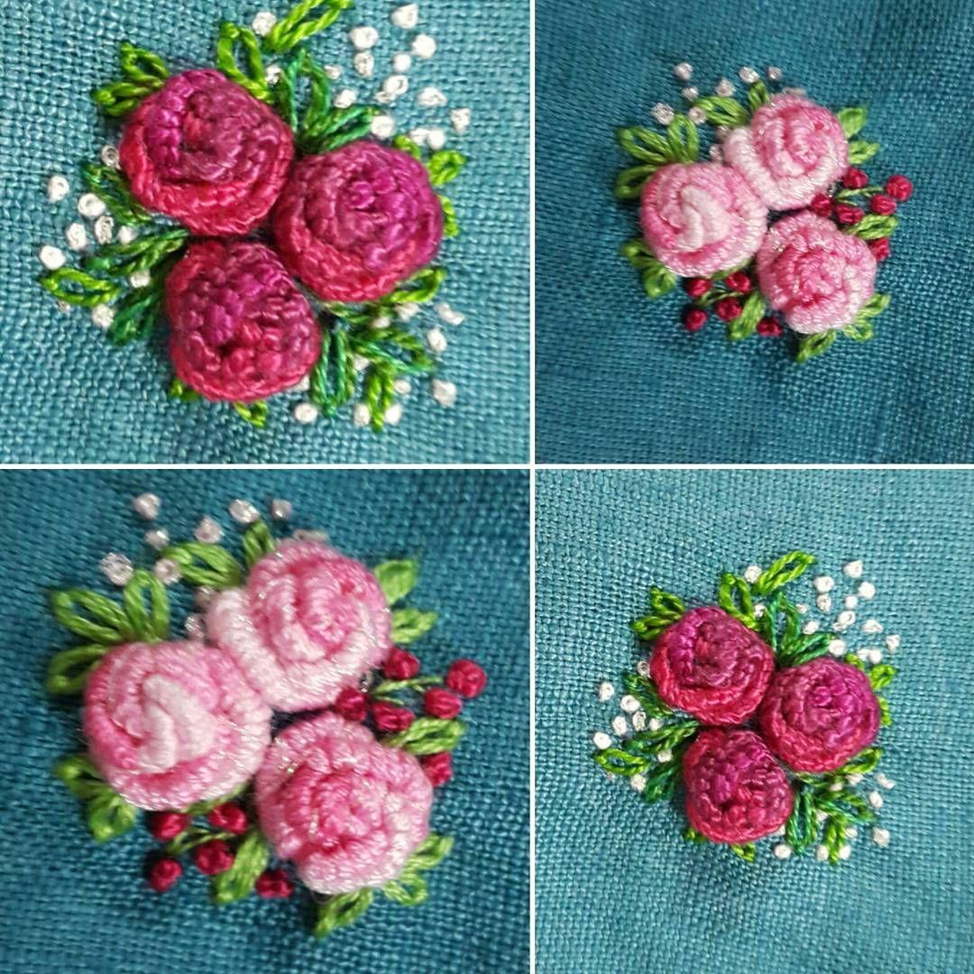 장미를수놓다~🌹 #프랑스자수 #소품 #미니악세사리 #취미 #장미손자수 #미니브로치#dailylife #embroidery #brooch #flower #hobby #rose