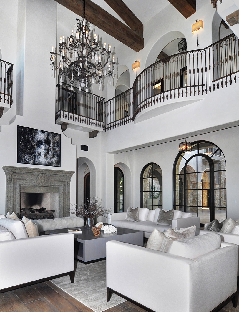 Photo of Gorgeous restoration hardware style living room decor with modern track arm sofas replica