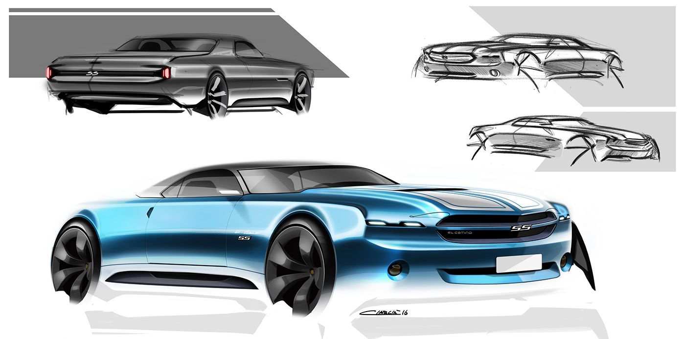 El Camino Muscle Cars Pt On Behance Transportation Sketches
