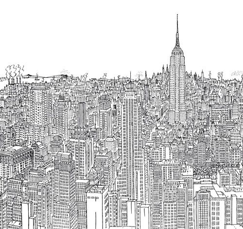 Picture Book Illustration Making An Architectural Model: Drawing Of #Manhattan In The 1960s By Robinson, In The