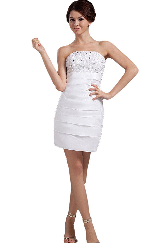 Mini white wedding dress  Albizia Taffeta Sleeveless Strapless Short Mini Wedding Dresses