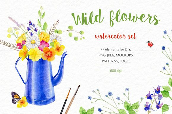 Wild flowers watercolor set by Happy Art on @creativemarket
